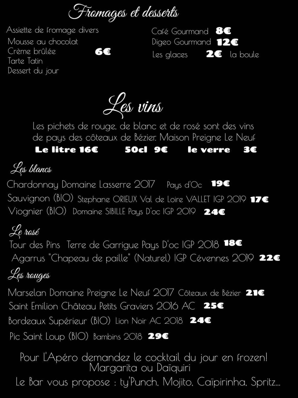Restaurant Brasserie Le P'tit Caboulot » La carte